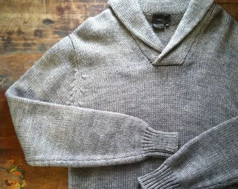 final sale -- Vintage Mens Charcoal Shawl Collar Sweater (S)