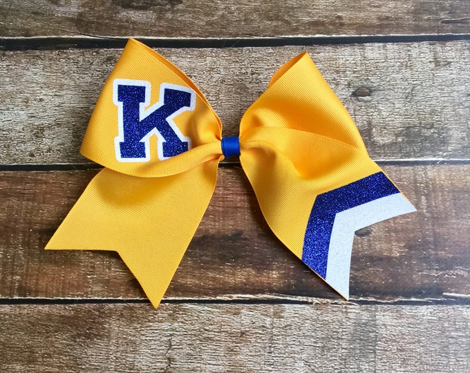 Custom Cheer Bows, School Lettering, Monogrammed, Black, Gold, Cheer Camp, Monogram Cheer Bow, Customized, Personalized Team Cheer bows