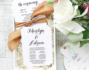 INSTANT DOWNLOAD Wedding Program Template  | Calligrapher | Printable | Flat 5x7 Double Sided | Editable Colors | Mac or PC | Word & Pages