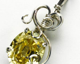 Yellow CZ Swirls and Curls Silver Filled Wire Pendant