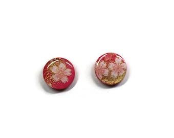 Pink Cherry Blossom stud earrings, Sakura earrings, Japanese paper earrings, Flower stud earrings, Japanese stud earrings, Blossom earrings