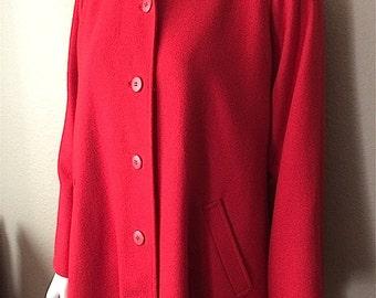 Vintage Women's 80's I. Magnin, Coat, Red, Wool, Fully Lined, Jacket (L)
