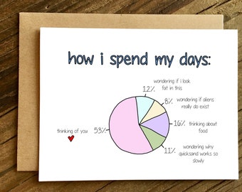 Funny Love Card - Funny Anniversary Card - Love Card - How I Spend My Days.