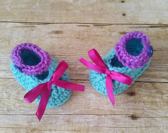Turquoise Baby Girl Shoes, crochet shoes, handmade girl shoes, Shoes for babies, purple baby shoes, Newborn shoes, Baby Mary Janes