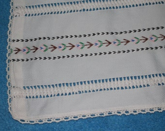 Vintage Hand Embroidered Table Cover