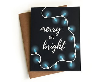 Merry and Bright Christmas Card, Holiday Card, Lights, Pretty, Simple, Calligraphy