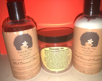 The Black Diamond Collection Hair Care Starter Set comes in everything 4 oz, 8 oz and 16 oz sizes Shampoo, Conditioner and Co-Wash