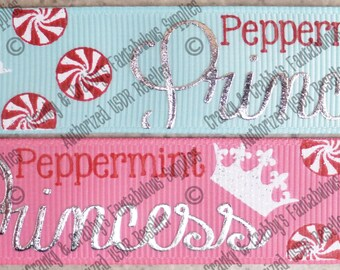 "7/8"" Peppermint Princess  - Peppermint Princess   - US Designer Printed Ribbon - 1yd, 3yd or 5 yd  - Red  foil"