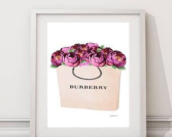 Watercolor purple peonies, fashion bag, shopping bag, Fashion Painting, Fashion Print, fashion shopping bag, gift for