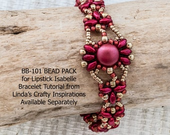 """BB-101 BEAD PACK for """"Lipstick"""" Isabelle Bracelet from Linda's Crafty Inspirations, Free Tutorial Available Separately"""