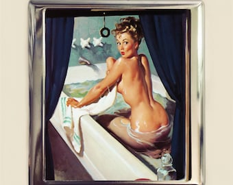 Pin Up Bath Cigarette Case Business Card ID Holder Wallet Pinup Girl Bathing Retro 1950s