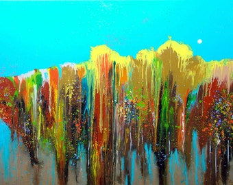 Turquoise painting | Modern Canvas Art | Large Abstract Painting | Contemporary Acrylic Art | Original Artwork | Autumn landscape