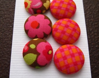 Wearable Sew On Fabric Covered Buttons - Size 30 Flowers and Checks