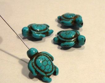 Blue Howlite Turquoise Gemstone Beads, Sea Turtle Beads....17x14mm