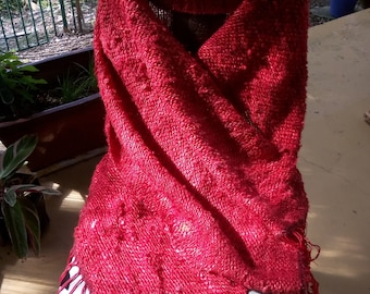 Red shawl handwoven made of Recycled Sari Silk