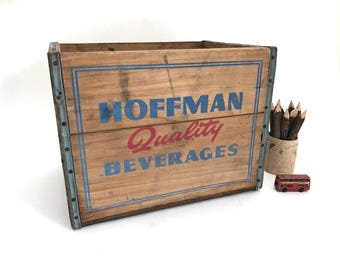 Hoffman Wood Beverage Crate - Vintage Soda Crate - Wooden Crate - Wood Crate - Bin - Storage - Prop - Display