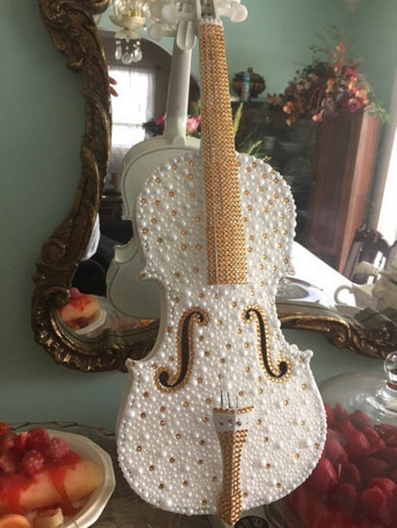 Violin Embellished with Pearls and Rhinestones