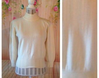Vintage 100% Merino Wool Long Sleeve Off White Sweater