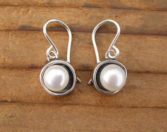 Modern Pearl Earrings in Round Sterling Setting - Sterling Silver Pearl Earrings with Black Patina