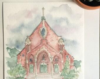 Custom Wedding Venue Watercolor Painting