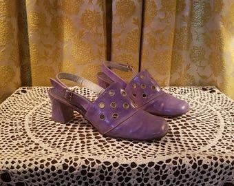Vintage 1960's Purple Patent Leather Shoes Heels, 8 1/2 8.5, Mod Squad