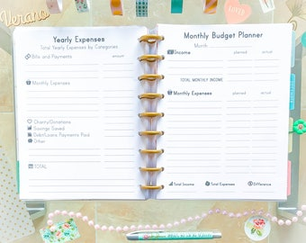 Happy Planner Budget Inserts Monthly Budget Yearly Expenses Happy Planner Inserts Budget Planner Printable Finance Tracker Planner Pages