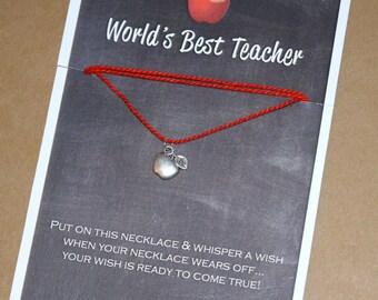 World's Best Teacher Wish Necklace - Buy 3 Items, Get 1 Free