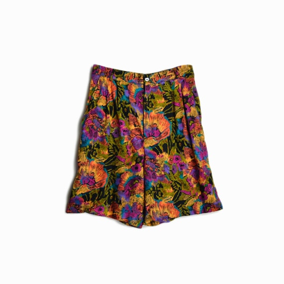 Vintage 90s High Waisted Floral Shorts / Crazy Shorts - women's xs/small