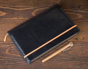 Rhodia A5 size hardcover Webnotebook / Rhodiarama cover - black harness leather