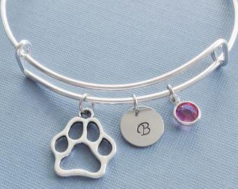 Dog Paw Bracelet, Silver Bangle, Charm Bracelet, Puppy, Animal Jewelry, Initial Bracelet, Swarovski Birthstone Crystal, Friend Birthday Gift