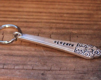 Sisters Key Chain, Personalized Key Fob, Sister Key Ring