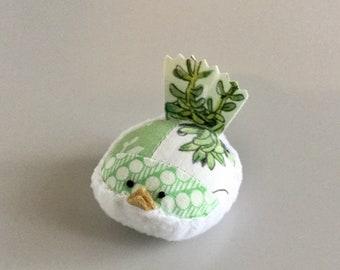 Pincushion Green And White Bird Pincushion Floral Pin Keep Kawaii Bird