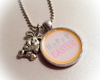 Hoppy Easter, Easter, Easter necklace, Easter pendant, Easter jewelry, rabbit charms