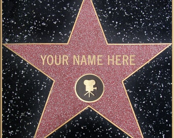 NOT FOR PRINT [Your Name] on Hollywood Blvd Walk of Fame Star Personalized Digital Image Unique Gift