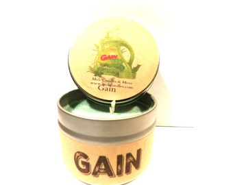 Gain Type 4 ounce soy tin candle - take it anywhere! Approximate Burn time 30 hours