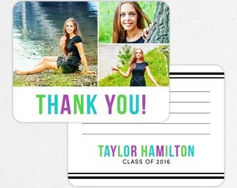 Graduation Thank You Card, Photo Graduation Thank You, Printable Graduation Thank You, Printed Thank You, Girl Graduation, Blue Green Purple
