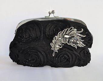 Evening Style Clutch Bag, Black Rosettes Silvertone Frame Evening Clutch Bag, Bridal, Wedding (Sparkle-487)