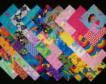 I SPY for GIRLS 100% cotton Prewashed Multi-Color 40 4 inch Quilt Fabric Squares (#stk21B)