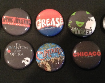 Lot of 10 BROADWAY 1'' Buttons/Pins PARTY FAVORS!!!! - Lot #1