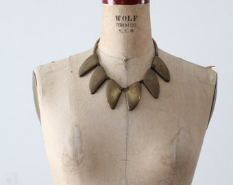 vintage brass necklace, chunky brass geometric bib necklace