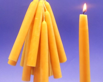 "100 Beeswax Candles, Pure Beeswax Tapers, 3/4"" x 6"" Taper Candles, 50 Pair of Bees Wax Tapers, Home Decor, Wedding Reception Candles"