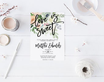 Spring Love is Sweet Bridal Shower Invitation Wedding Party Invitation Hens Party Bachelorette Party Invite Printable Invitation