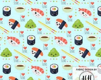 Kawaii Sushi Fabric By The Yard / Cute Fabric / Childrens Fabric / Kids Crafts / I Love Sushi Fabric Print in Yards & Fat Quarter