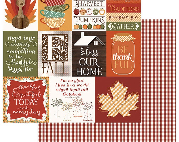 2 Sheets of Photo Play AUTUMN ORCHARD 12x12 Fall Theme Scrapbook Cardstock Paper - Thankful