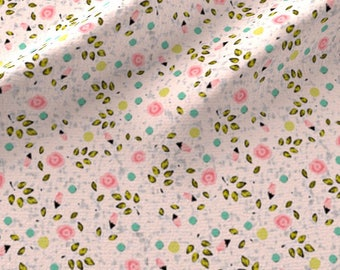 Petite Pink Floral Fabric - Ditsy Spring Flower In Pink By Lucybaribeau - Baby Girl Nursery Decor Cotton Fabric By The Yard With Spoonflower