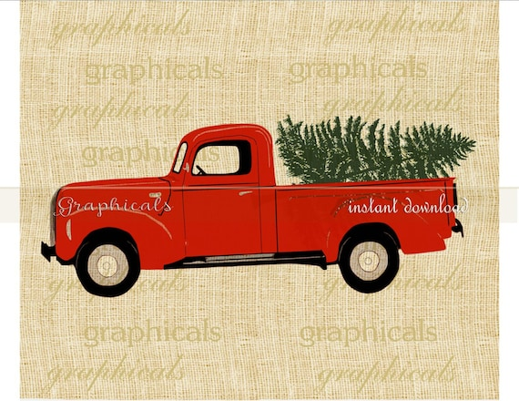 Christmas Red Truck Tree My Drawing Instant Clip Art Digital