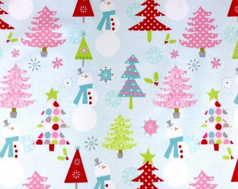 Christmas fabric, Aqua Christmas fabric from Riley Blake, 100% cotton fabric for Quilting and general sewing projects.