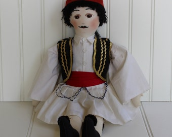 Greek Doll Traditional Costume - Male in Uniform - Large Soft Sculpture Doll - Red Black White - Soldier - Double Pleated Skirt
