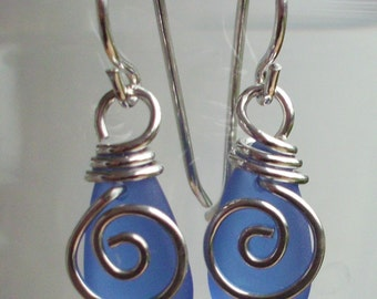 Mermaid Tear Drop BLUE  Earrings