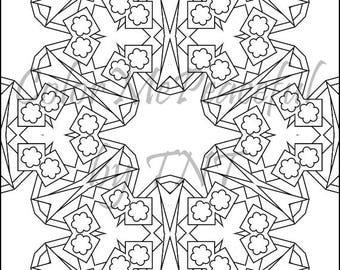 Kaleidoscope Adult Coloring Page - Calm Kaleidoscopes, Volume 1, Page 20 | Printable Instant Download